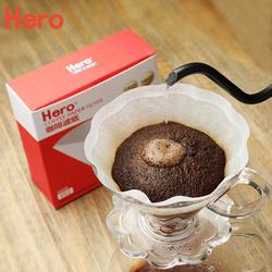 hero手冲咖啡壶滤纸V型原木 漂白滴漏美式咖啡滤杯过滤纸咖啡滤纸