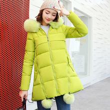 实拍2017冬季新款潮韩版女装大码孕妇装羽绒服棉服中长款外套