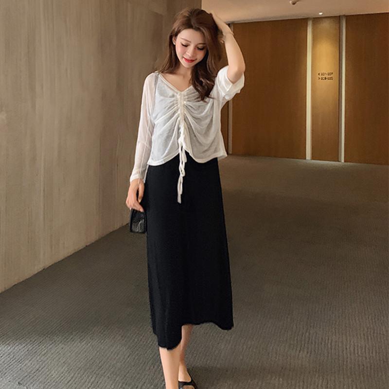 韩版宽松大码女装背心裙夏季新款莫代尔孕妇连衣裙套装防晒两件套