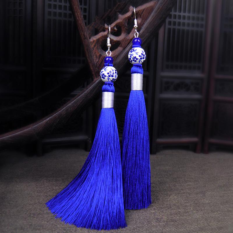 青花瓷蓝色古典耳饰女复古云南民族风耳环流苏长款中国风气质耳坠