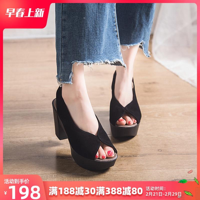 单鞋女2020春夏新款真皮厚底凉鞋女坡跟鱼嘴高跟鞋粗跟防水台单鞋