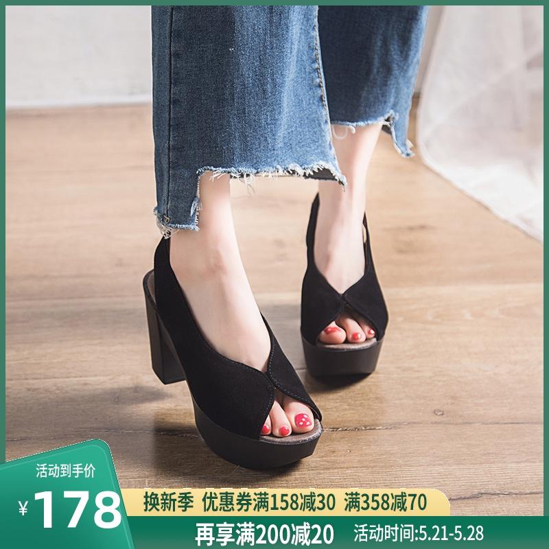 单鞋女2020春夏新款真皮厚底凉鞋女坡跟鱼嘴高跟鞋粗跟防水台单鞋图片