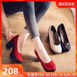 单鞋女真皮女鞋2020秋季新款时尚防水台高跟鞋森女粗跟真皮奶奶鞋