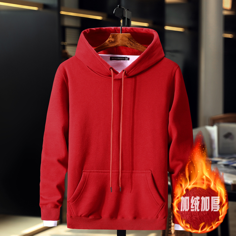 Plush hooded mens autumn and winter new Korean solid color fattening oversized sports Hoodie fat warm coat