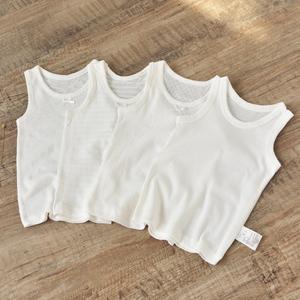 纯棉儿童白色打底背心男童薄款夏女童网眼无袖吊带内衣宝宝打底衫