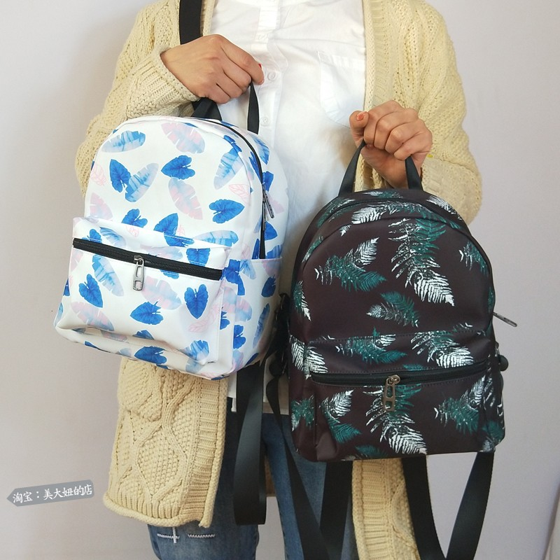 Nylon waterproof fresh printed small backpack light leisure backpack ancient girl simple Korean small bag girl