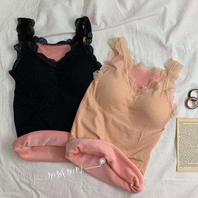 无袖背心女2019秋冬新款修身性感蕾丝加绒保暖吊带打底衫韩版上衣