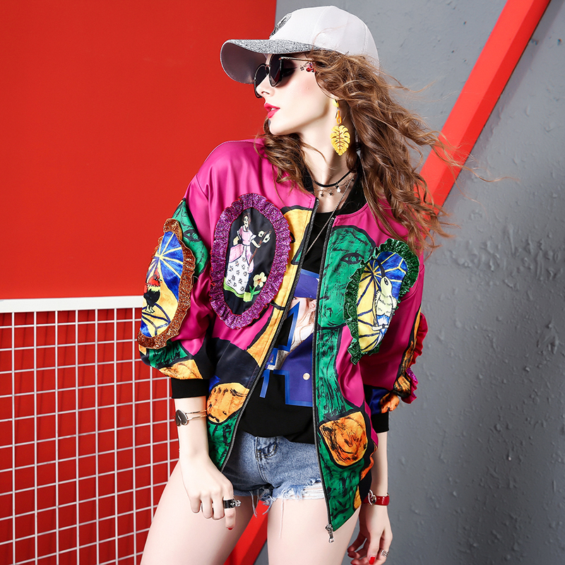 Jacket coat womens 2019 new fashion brand hip-hop loose Korean red print long sleeve westernized bomber