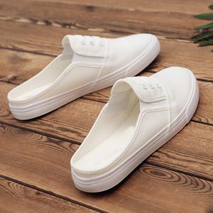 夏季透气防臭帆布半拖鞋情侣小白鞋男女学生懒人鞋无后跟男鞋子潮