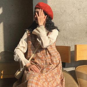 復古格子背心連衣裙女秋季新款寬松韓版+娃娃領長袖雪紡襯衣套裝