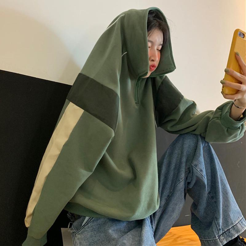 (用7元券)拼接撞色立领套头chic女韩版风卫衣