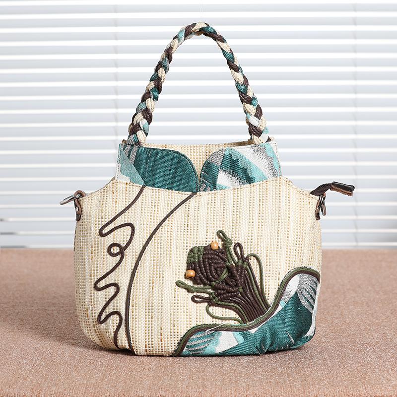 原创民族手提包女包新款女式布手袋小斜挎小包棉麻包女文艺手拎包