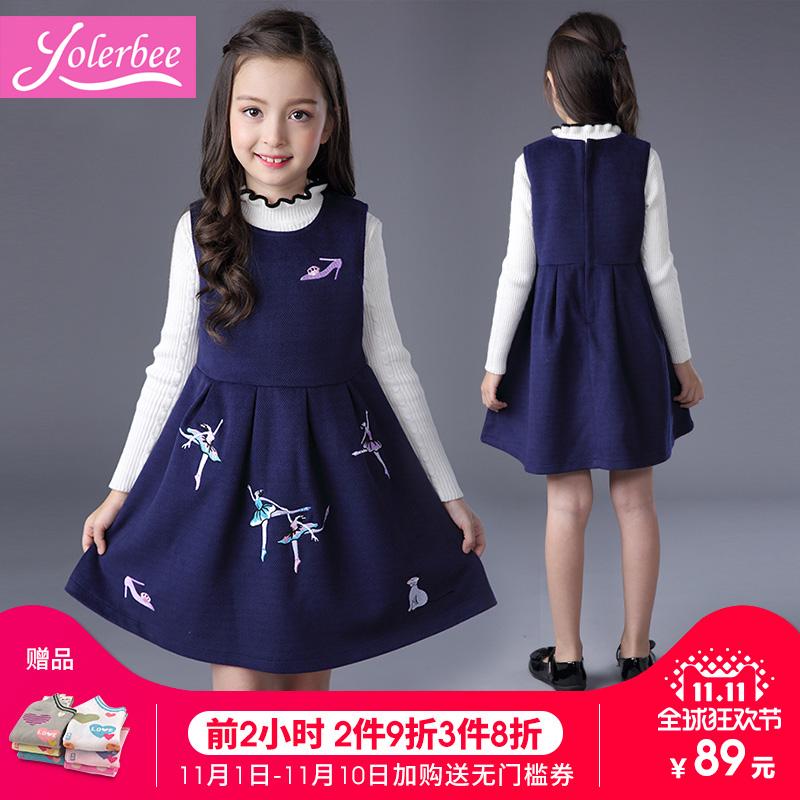 Девочки платье осень зима 2017 ребятишки в новый большой ребенок шерстяной жилет юбка девочка платье принцессы сын