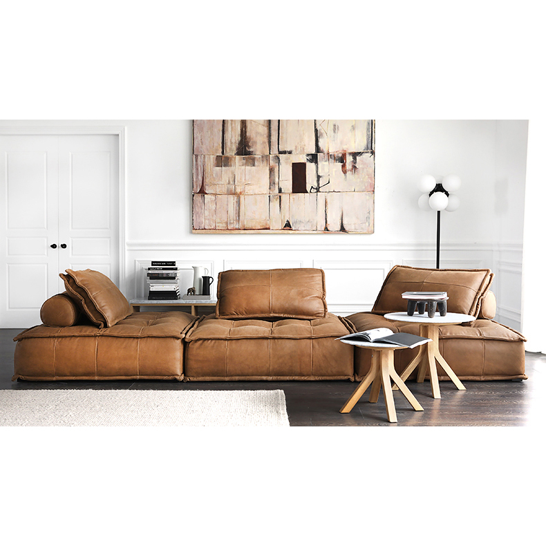 Nordic original Dutch Italian leather PU Leather 3 people 1 person sofa light luxury small house type can be customized