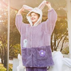 芬腾韩版布朗熊睡衣女冬季珊瑚绒开衫可爱连帽居家套装保暖家居服