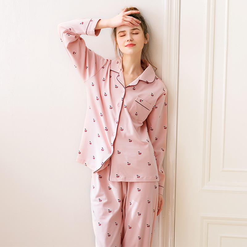 芬腾新款睡衣女秋纯棉可爱开衫长袖长裤少女甜美全棉家居服套装冬图片