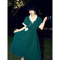 化学少女「天使爱美丽」原创法式复古高腰赫本风连衣裙V领显瘦裙