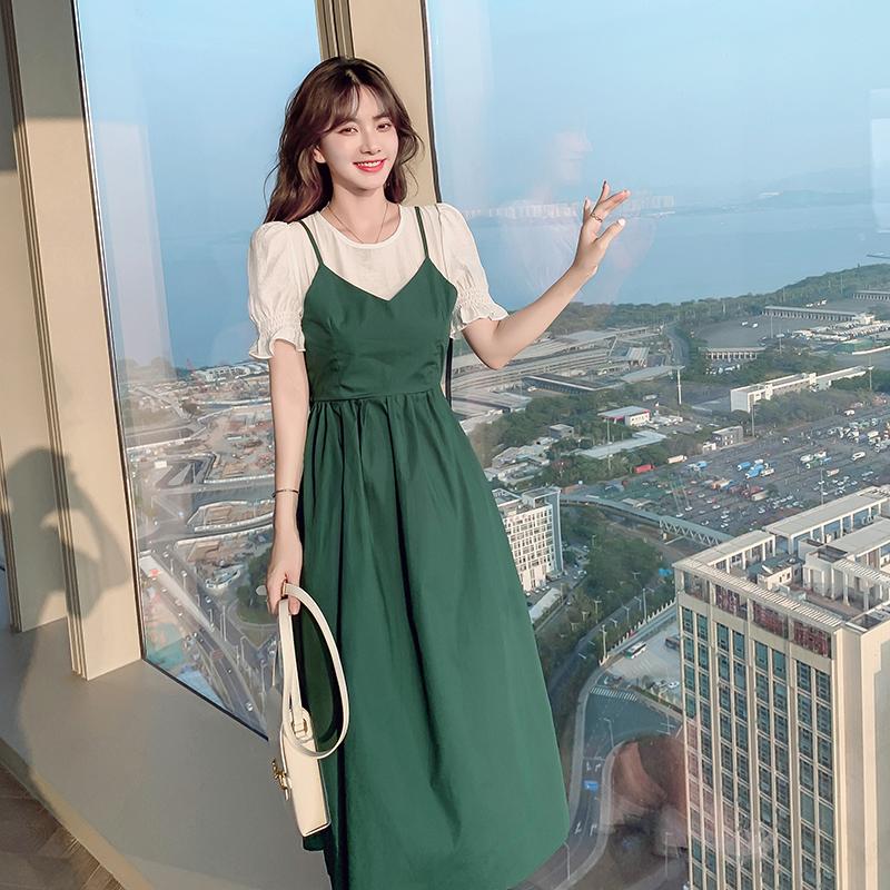 实拍夏季新款韩版假两件减龄连衣裙后背蝴蝶结气质时尚中长仙女裙