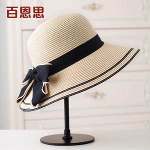 草帽女夏天大沿防晒遮阳帽子沙滩太阳帽海边折叠出游韩版百搭英伦