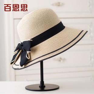 草帽女夏天大沿防晒遮阳帽子沙滩太阳帽海边折叠出游韩版 百搭英伦