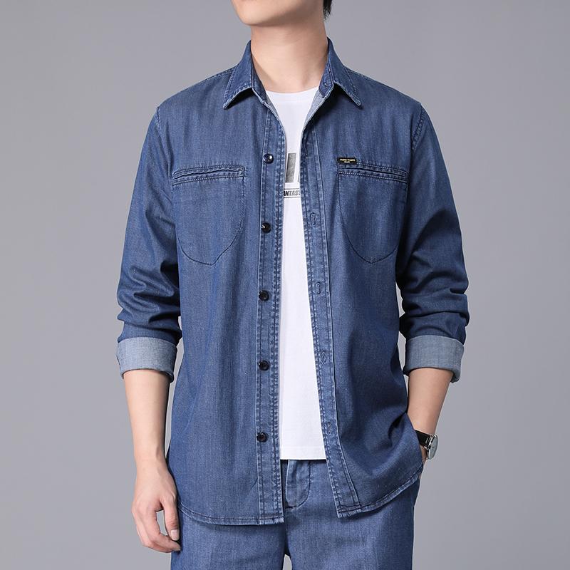 2020 new Tencel mens denim shirt business work mens casual Top Long Sleeve Shirt fresh and comfortable