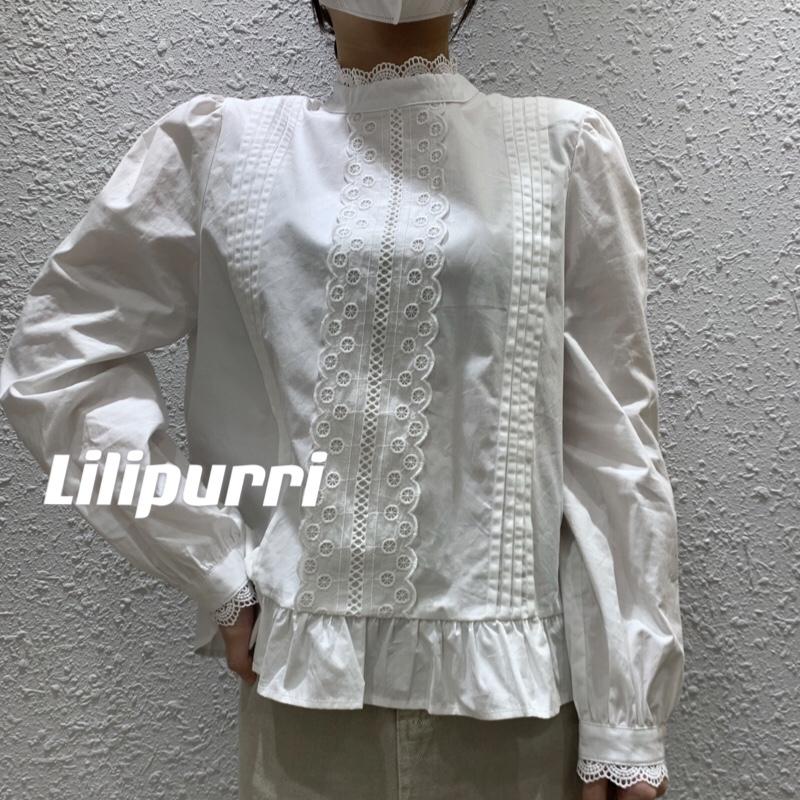 秋季新款韩版蕾丝拼接花边褶皱木耳领纯棉长袖衬衫宽松百搭设计感