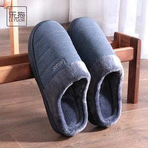 乐拖防水棉拖鞋男冬季室内防滑厚底PU皮家居家用毛绒保暖毛毛拖鞋