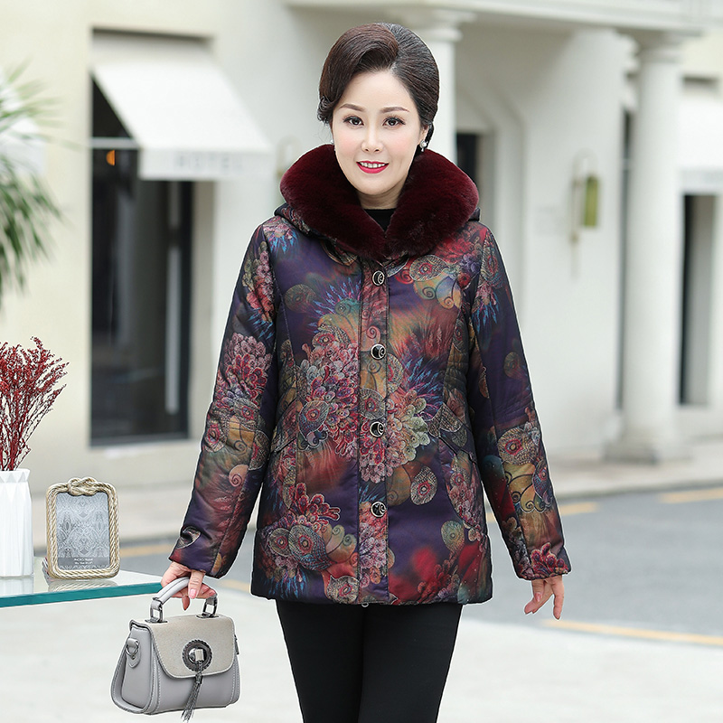 New mothers dress middle and long winter dress foreign style down jacket middle-aged womans wife middle-aged and old down jacket womens dress