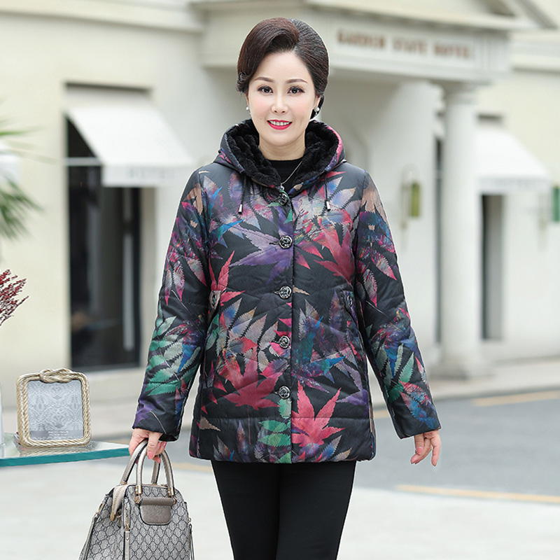 Mothers down jacket medium length fashion middle-aged and old womens winter coat foreign style noble old peoples cotton padded coat thickened cotton padded jacket