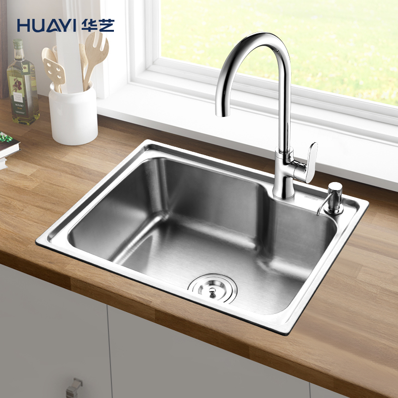 Huayi bathroom, kitchen, household 304 thickened stainless steel single trough sink, on the stage, dish washing basin and sink