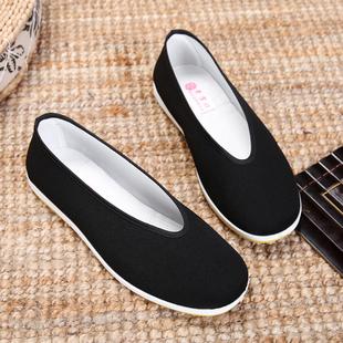 包邮老北京布鞋男款 圆口中老年老头鞋休闲鞋 透气男士黑布鞋