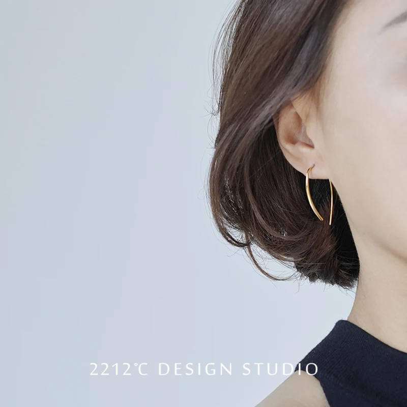2212 silver extremely simple Earrings ins versatile S925 pure silver gold plated earrings female Earrings Korean Earrings