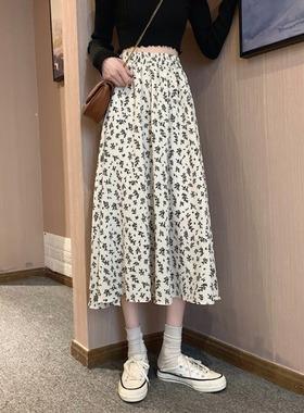 半身裙2021春款新款韩版百搭垂感碎花裙中长款裙子雪纺高腰a字裙