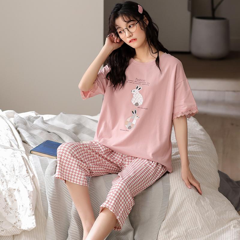 Pajamas womens summer short sleeve cotton Korean loose thin lace all cotton Capris womens summer suit