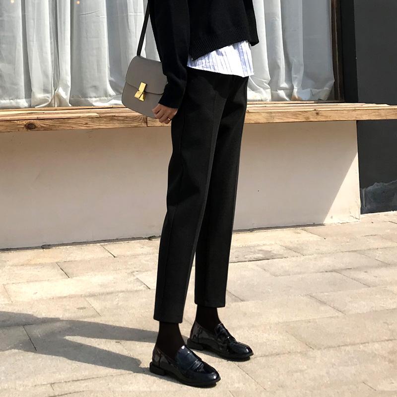 秋冬新款毛呢哈伦裤女萝卜裤显瘦直筒烟管裤宽松休闲西装裤长裤子