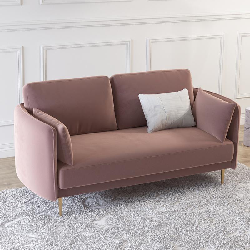 店铺双人轻奢沙发小户型小客厅美容院接待用粉色简约三人绒布沙发729.00元包邮
