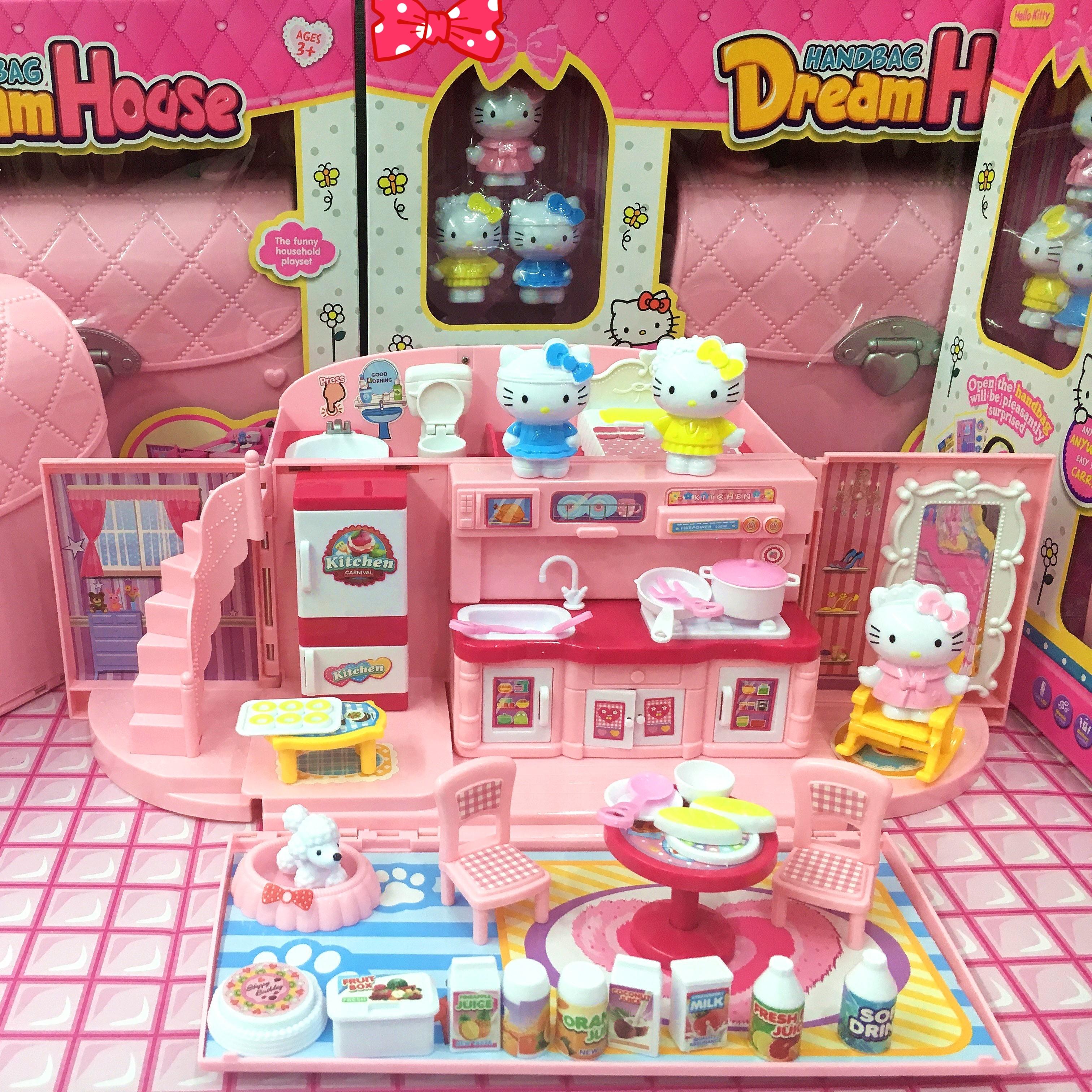 儿童过家家厨房玩具娃娃冰雪公主女孩礼物手提包屋凯蒂猫房子别墅
