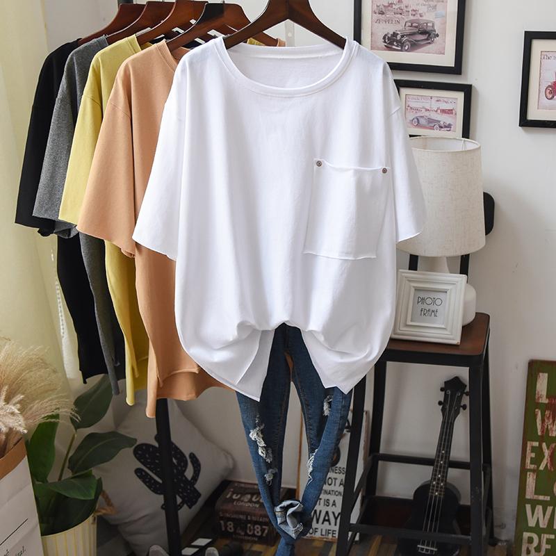 加肥加大码女装夏装纯棉短袖t恤胖mm藏肉遮肚半袖简约文艺范上衣T