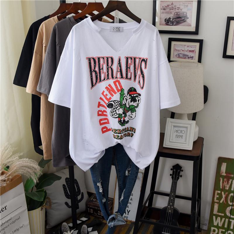韩版网红洋气短袖上衣女2020夏季宽松显瘦白色t恤欧货街头风半袖