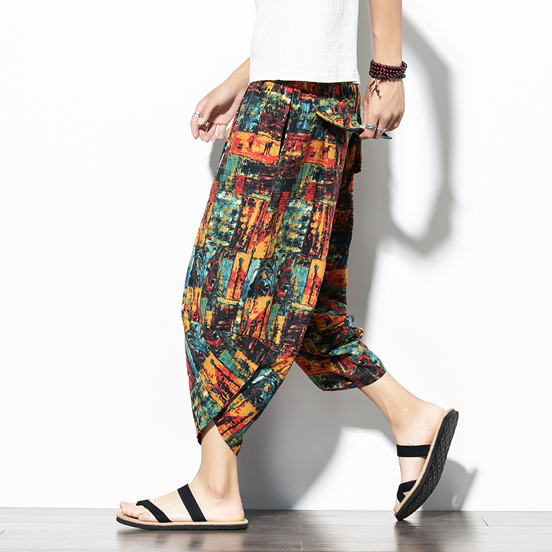 Summer 2020 Capris mens Chinese style retro printed beach pants trendy large loose casual shorts k29p30