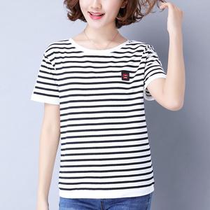 黑白条纹t恤女 短袖2021夏装新款妈妈宽松半袖衫大码纯棉上衣百搭