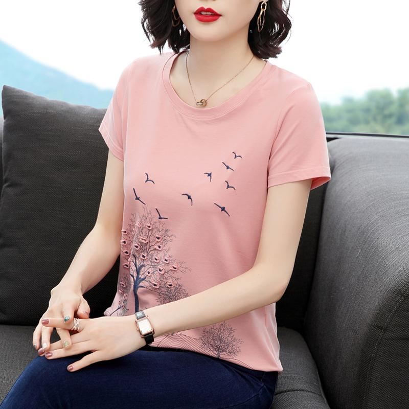大码短袖女装2021中老年妈妈夏t恤