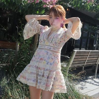 韩国官网正品代购Stylenanda精美洛丽塔时尚度假喇叭袖半袖连衣裙