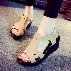 2019夏新款坡跟凉鞋真皮厚底松糕摇摇鞋中跟大码40-43码凉鞋女鞋
