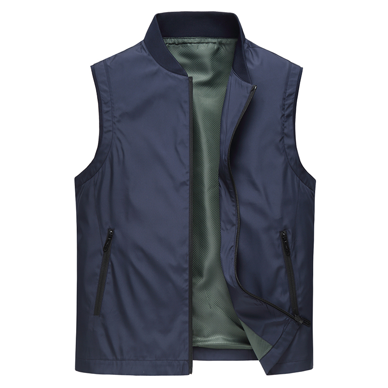 Business mens sleeveless vest middle-aged and old mens low collar vest dad warm jacket baseball collar jacket