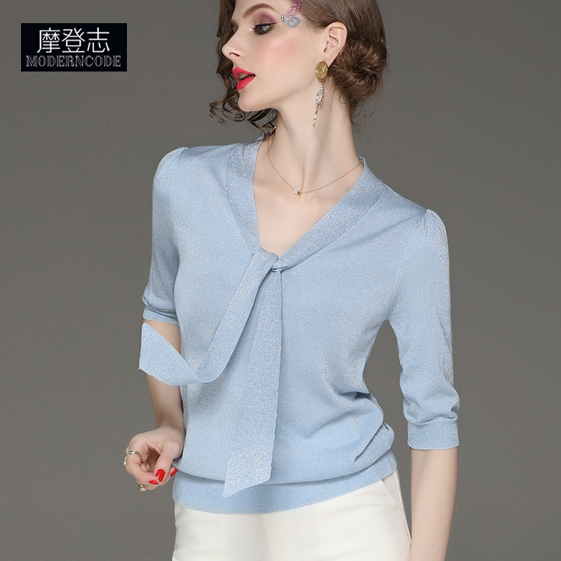 Bow ribbon summer thin ice silk sweater womens middle sleeve glittering silk blouse temperament V-neck top autumn style