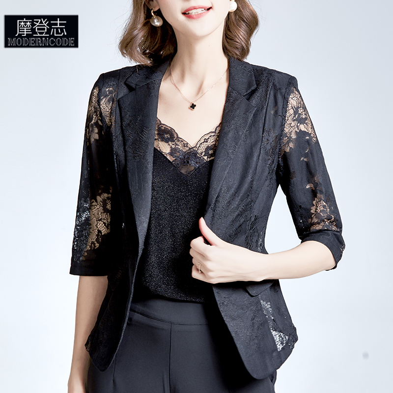 Xia slim black thin coat womens high sense suit lace cardigan hollowed out high-end small suit top one button