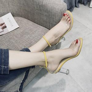 凉鞋女夏2021新款一字扣带露趾粗跟小清新高跟鞋女透明仙女水晶鞋