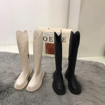 韩国奶白色中粗跟长筒靴2020年女鞋