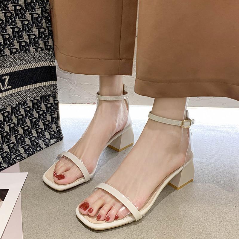 凉鞋女2020年新款夏ins潮粗跟仙女风百搭配裙子扣带高跟鞋罗马鞋